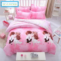 wedding decoration pink Fruits of super king size bed linen bedding set duvet cover +flat bedspread + pillowcases bedclothes