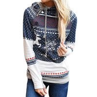 2017 Autumn Sweatshirts Hoodies Womens Christmas Warm Women Zipper Polka Dot Print Tops Hooded Sweatshirt Pullover
