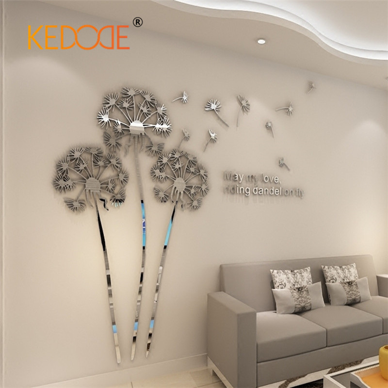 Acrylic 3d Wall Stickers Dandelion Creative Mirror Wall Surface Stickers Home Decoration Accessories Wall Decal Thickness 1mm