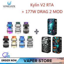 Original VOOPOO177W DRAG 2 Box Mod with Vandy vape Kylin V2 RTA Tank VS Vaper Vs Drag 157w mini Electronic Cigarette Kit(China)