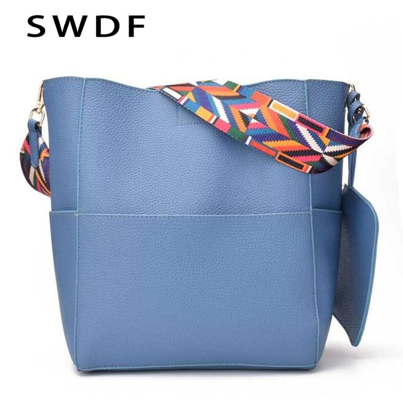New Brand Designer Women Bag Vintage Strap Shoulder Bag Warm Colors Bucket Handbag Large Capacity Crossbody Bag Lady Sac A Main