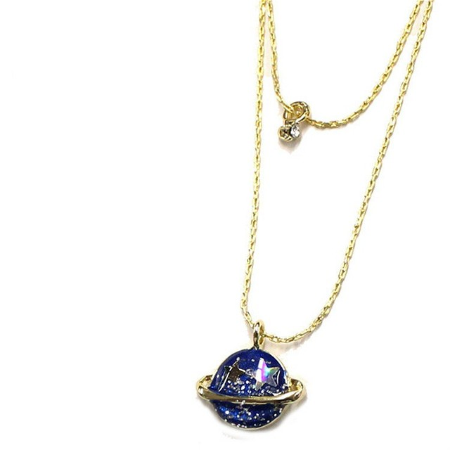 Gold chain statement punk enamel planet universe moon star gold chain statement punk enamel planet universe moon star necklace small crystal multi pendant necklace for mozeypictures Image collections