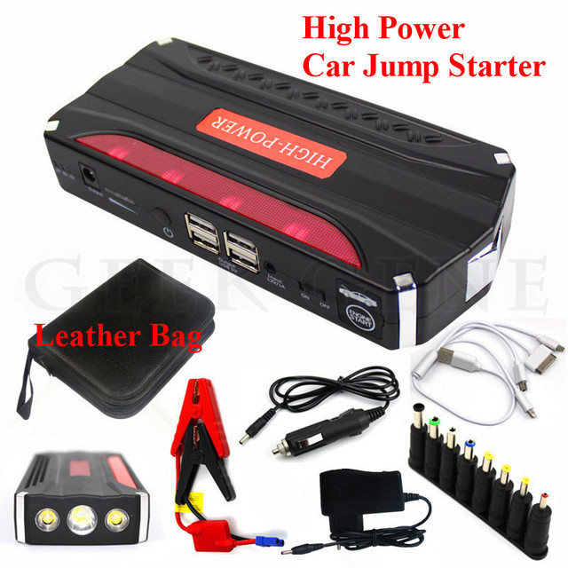 Emergency Car 12000mAh Jump Starter Portable 4USB Power Bank Multifunction 600A Peak 12V Car Battery Charger SOS Light Free Ship