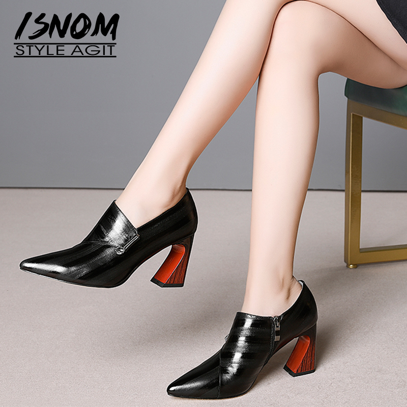 ISNOM 2019 Unusual High Heels Women Pumps Pointed Toe Footwear Emboss Cow Leather Lady Shoes Fashion