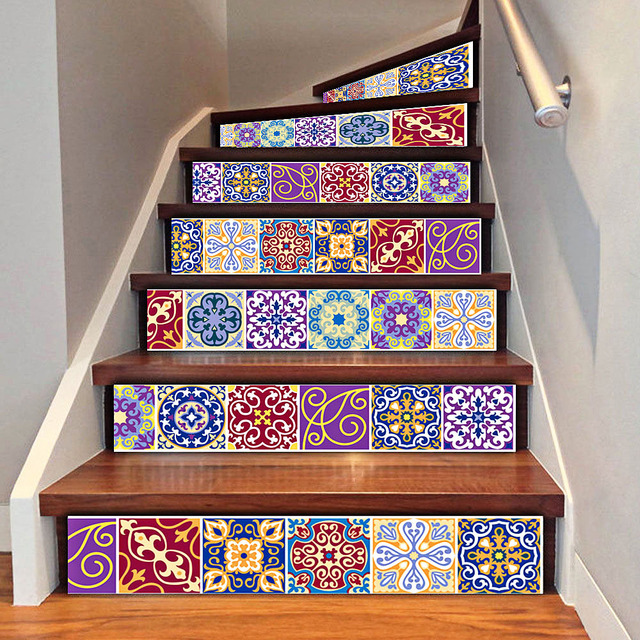 6pcs DIY Tile Decals Mexican Traditional Stair Stickers Removeable  Waterproof Wallpaper Home Decor 7.1 X 39.4