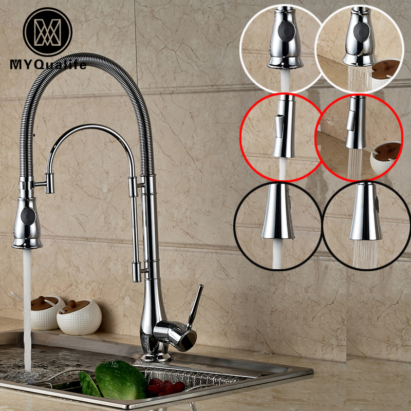 Deck Mounted Single Handle with Spout Bracket Kitchen Sink Faucet Dual Sprayer Nozzle Kitchen Mixers Chrome