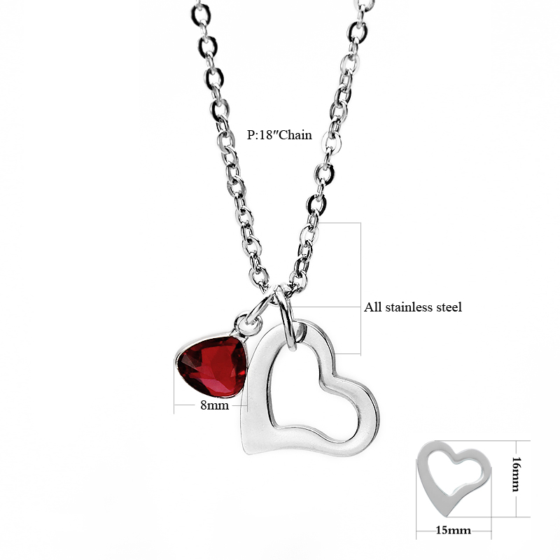 2020 New Stainless Steel Chain Crystal Heart Pendant Necklace Love Jewelry Valentine's Day Present Gift for Women with free Box