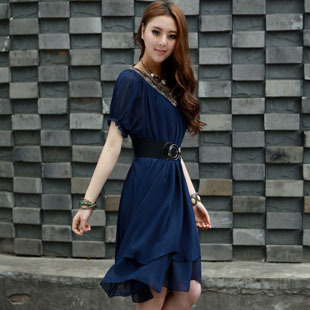 Free Shipping 2013 new arrival fashion sexy leopard short sleeve lady's casual dress