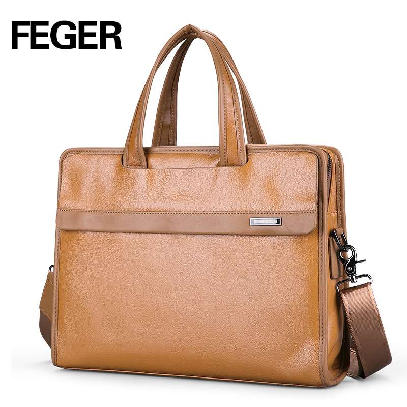 ФОТО FEGER classical yellow genuine leather handbag men messenger bag fashion business leather laptop briefcase free shipping