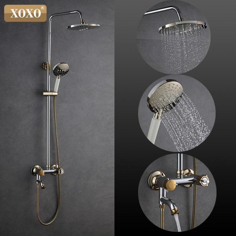 XOXO Doccia Rubinetto Di Lusso intelligente anti-perm cromo + oro termostato doccia set Tenendo la vasca da bagno miscelatore regolare altezza 88050