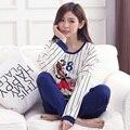 Nova chegada coreano meninas treino de algodão mulheres Pijama de mangas compridas calças define primavera desenho animado do pato Donald Pijama Mujer Inverno
