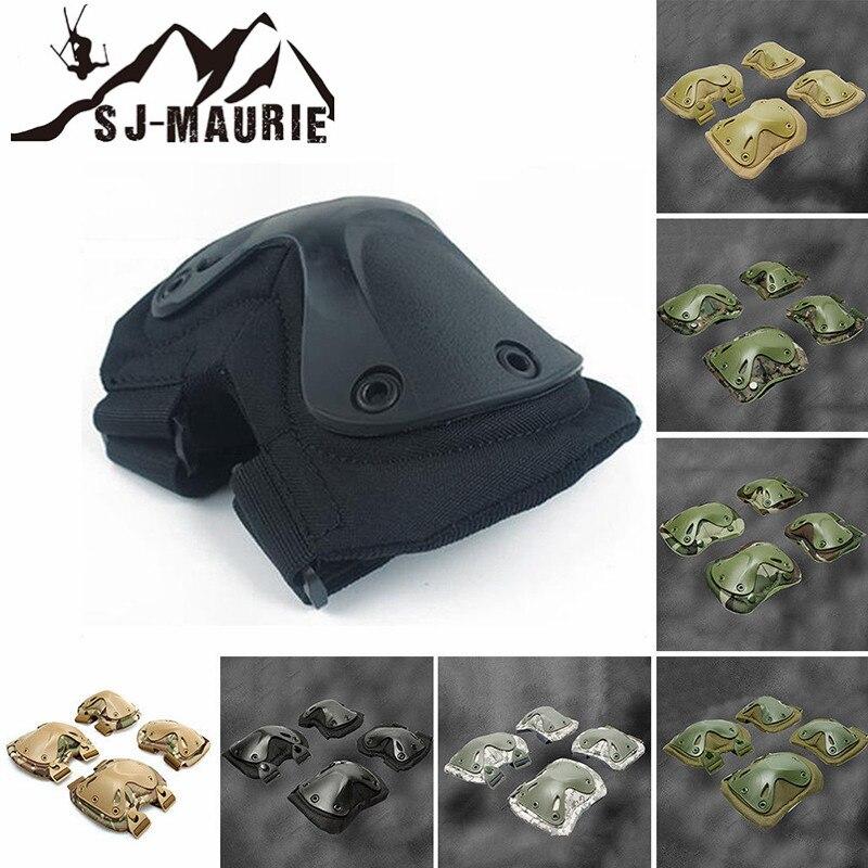 SJ-MAURIE Army Tactical Airsoft Paintball Caça Protecção Suporte Joelho Brace Knee Pads & Elbow Pads Protector Set