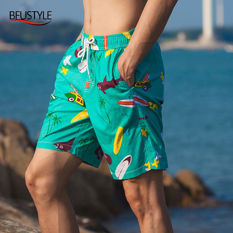 BFUSTYLE New Mens   Board     Shorts   Quick Drying Beach Wear 2019 New 3D Print Bermuda Praia Boardshorts with Pockets Dropship
