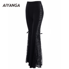 2018 New Punk Style High Waist Lace Up Patchwork Lace Trousers Women Spring Wide Leg Pants Elastic Waist Black Fashion Pants(China)