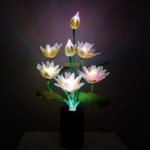Image 3 - สไตล์ใหม่ 7 หัว LED ดอกไม้ไฟ Lotus พระพุทธรูปแสงโคมไฟสำหรับโคมไฟแปลกศิลปะ Optical ดอกไม้