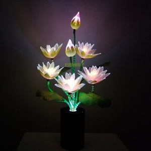 Image 3 - W nowym stylu 7 głowice kwiat Led światła lotosu światła buddy lampa Fo lampa nowość artystyczne z włókna optycznego kwiat