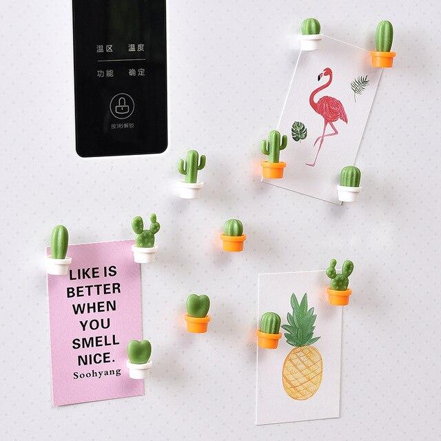 6 adet/takım sevimli kaktüs etli bitki buzdolabı mıknatısı düğmesi buzdolabı mesaj Sticker çocuk hediye buzdolabı aksesuarları
