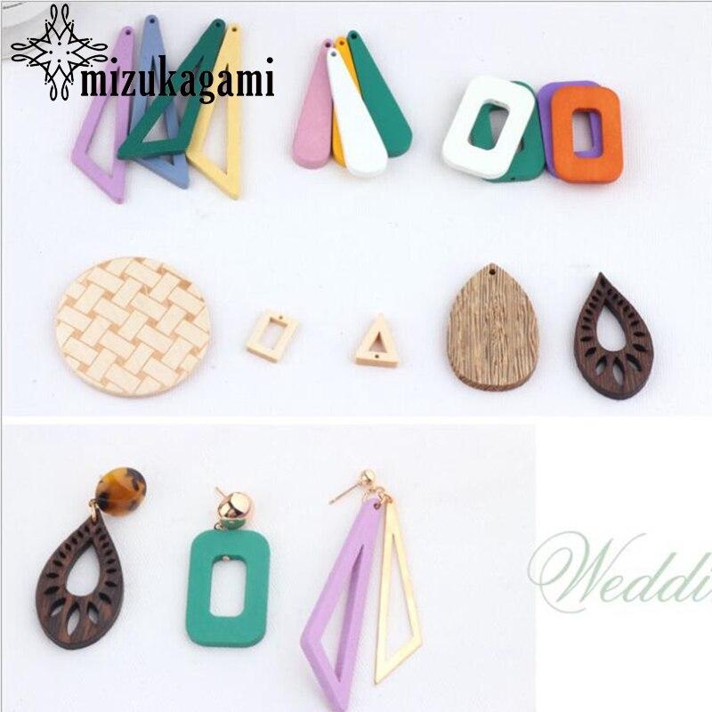 Solid Wood Geometric Personality Yangtze River Triangle Earrings 10pcs/lot For DIY Bohemia Jewelry Making Accessories
