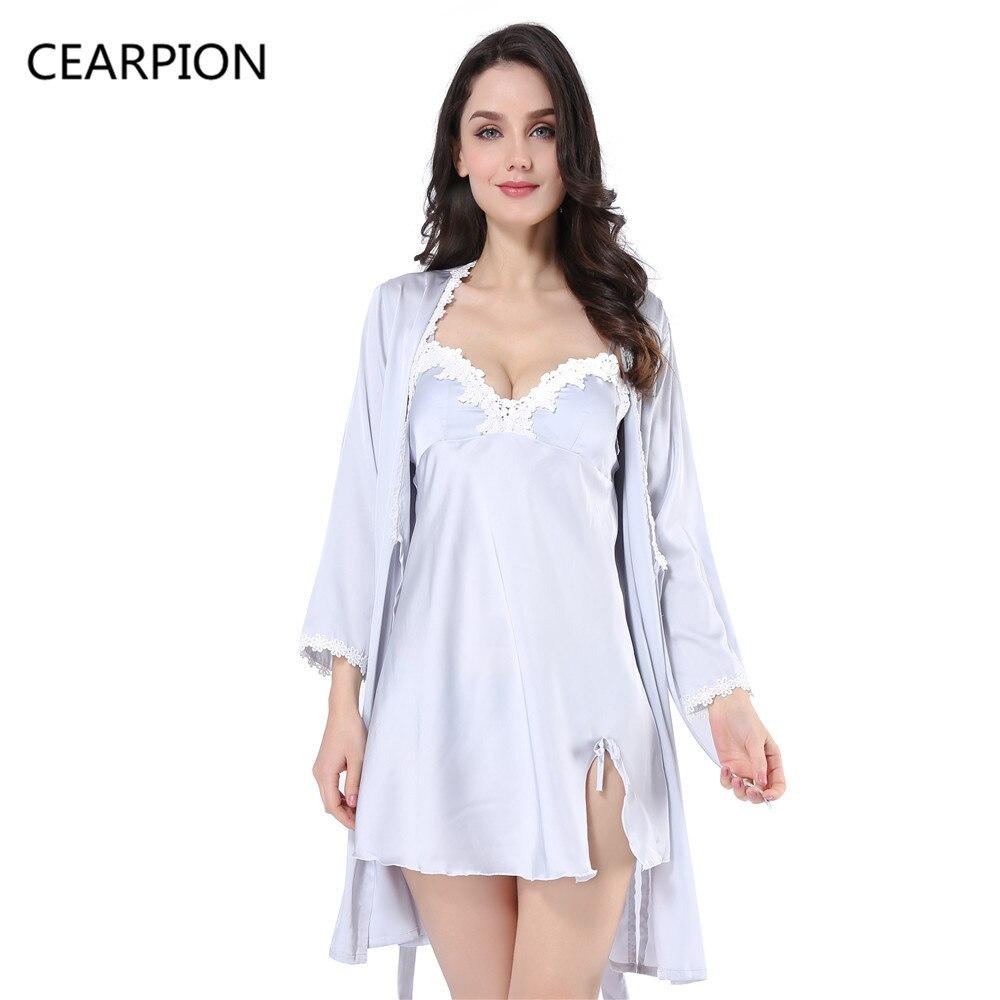 fb34f10741 CEARPION Sexy Women Kimono Robe Spring Summer Nightwear Home Wear Sleepwear  Lace Long Sleeve Bathrobe Nightdress 2PCS Nightgown-in Robes from Underwear  ...