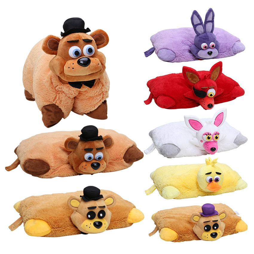 7pcs FNAF Plush 43cm*30cm Five Nights At Freddy's Pillow Mangle Foxy Chica Bonnie Golden Freddy Fazbear Plush Toys Cushion цена 2017