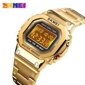 Image 1 - Часы наручные SKMEI мужские электронные светодиодные, цифровые брендовые Роскошные водонепроницаемые