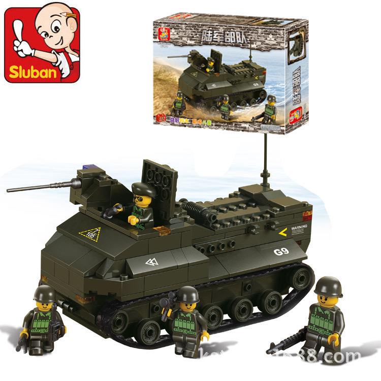 Sluban model building kits compatible with lego city tank 443 3D blocks Educational model & building toys hobbies for children