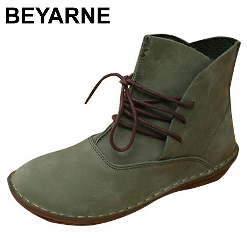 BEYARNE Handmade Women Boots Genuine Leather Ladies Shoes Spring/Autumn Lace up Ankle Boots Female Footwear 2017 xiangban women ankle boots handmade genuine leather woman short boots spring autumn round toe female footwear