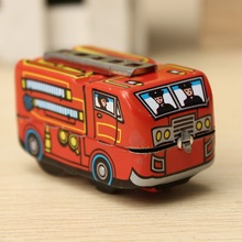Cute Mine Vintage Fire Chief Firefighter Car Truck Clockwork Wind Up Tin Toys Vehicle Model Toys For Boy Children