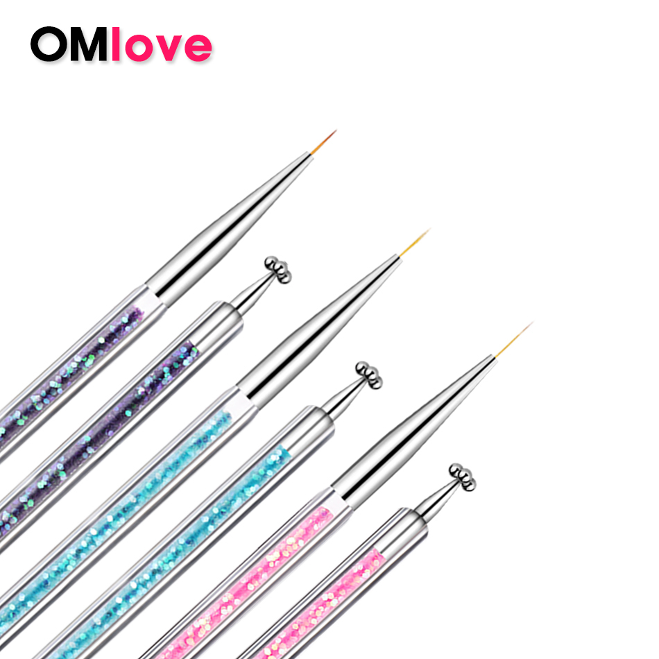 OMlove Professional 1Pc Acrylic Nail Brush For Nail Art Pattern DIY Design Small Brush Nail For Drawing On Nails Manicure Tools
