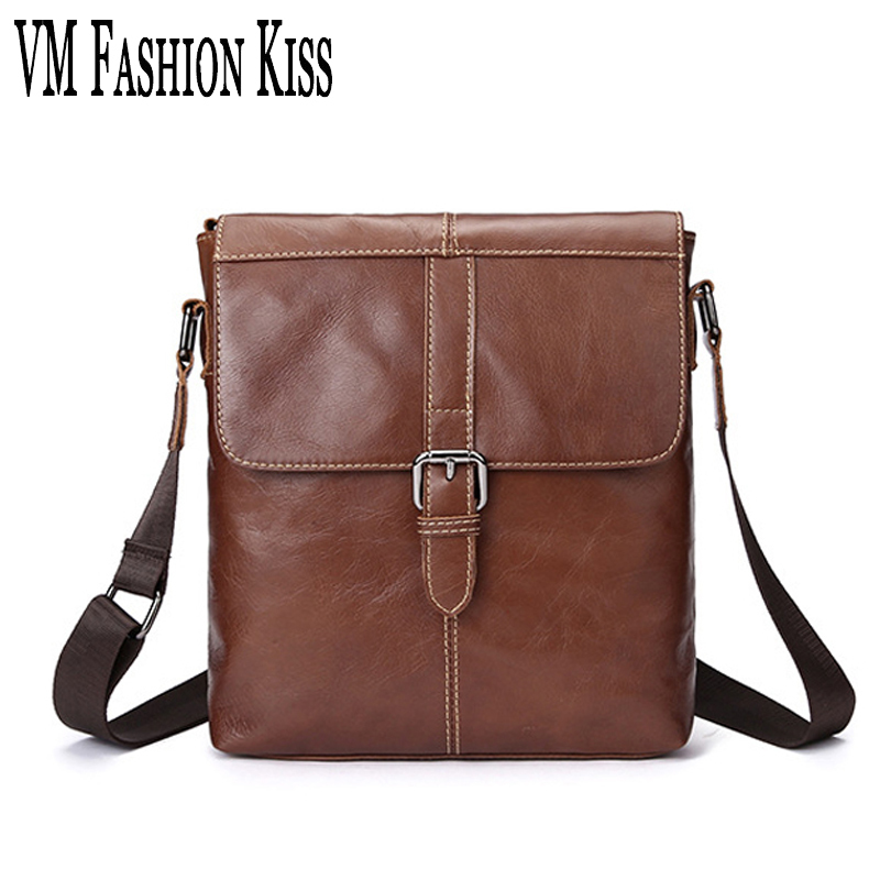VM FASHION KISS Famous Men Casual Real Leather Small Shoulder Bag Male Messenger Bags Bolsa Feminina Purses And Handbags For Man цена