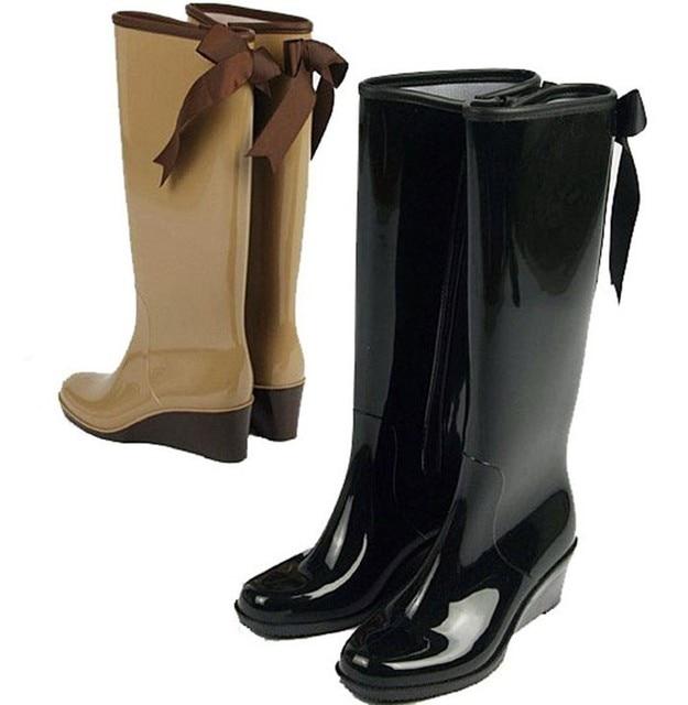 d9fa8df8cc7 Talon compensé bottes de pluie genou bottes Pvc de pluie bottes pour  femmes