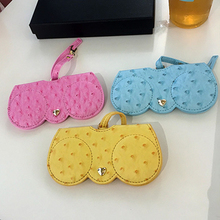 KPAY Ostrich Pattern Unique PU Leather Glasses Bag Multi-function Eyeglasses Case Women Sunglasses Storage Protection Ins Cover