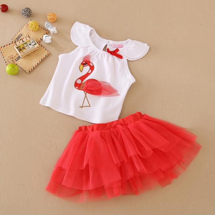d34535385b22 Flamingos Summer Baby Dress Suit 2 PCS Girl Clothing Sets Tutu Skirt + Top  Fashion Baby