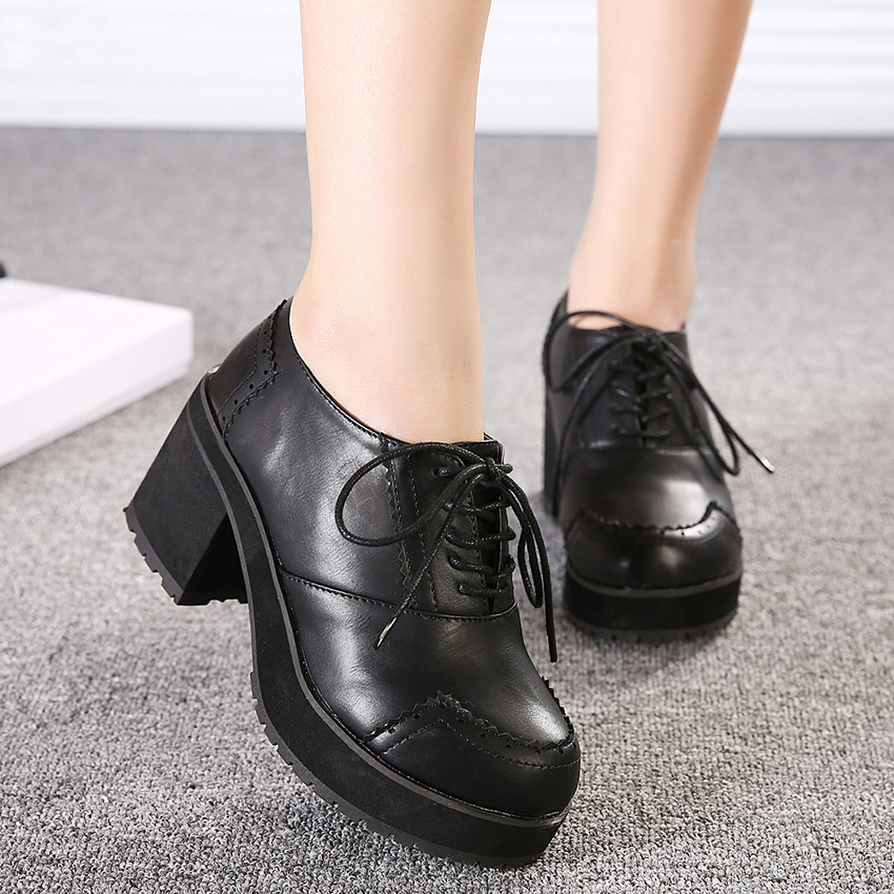 Aliexpress.com : Buy Leatherette Women's Chunky Heel Oxfords with ...