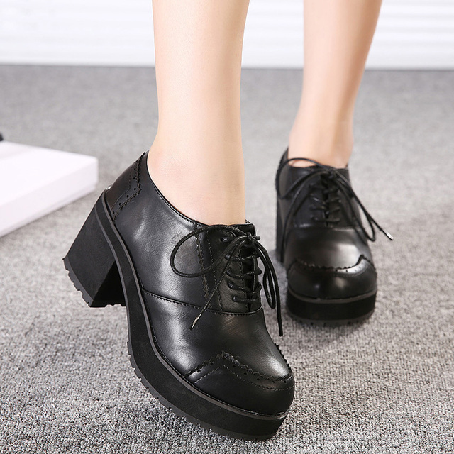 Leatherette Women's Chunky Heel Oxfords with Wing Tip Black Shoes ...