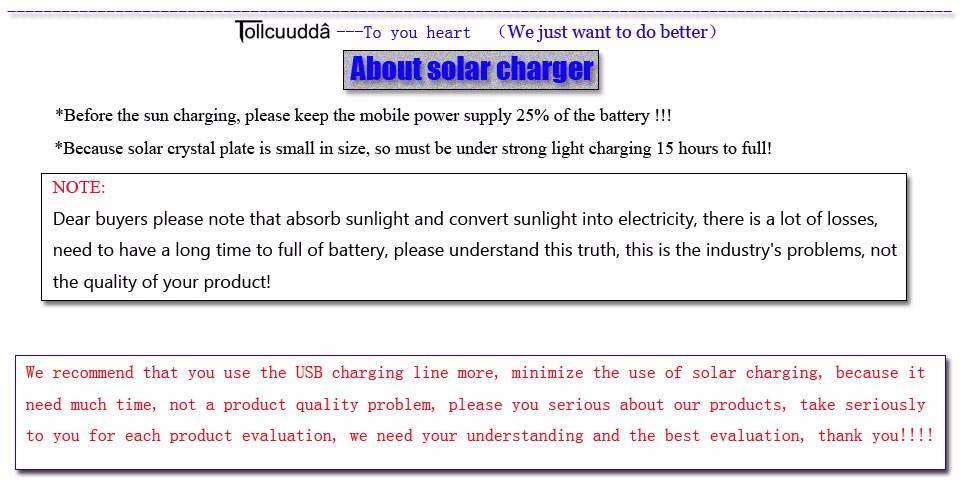 Tollcuudda Solar Panel Power Bank 100mAH Battery External Celular Charger Cargador For Xiao Mi universal Phone Solar PoverBank 35