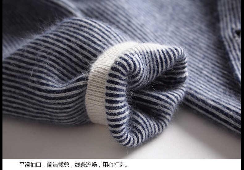 Wanita Panjang Bisbol Kite Kasmir Kardigan Sweater Wanita Musim Gugur Musim Dingin Setengah Berleher Tinggi Baru Kasual Biru Kardigan