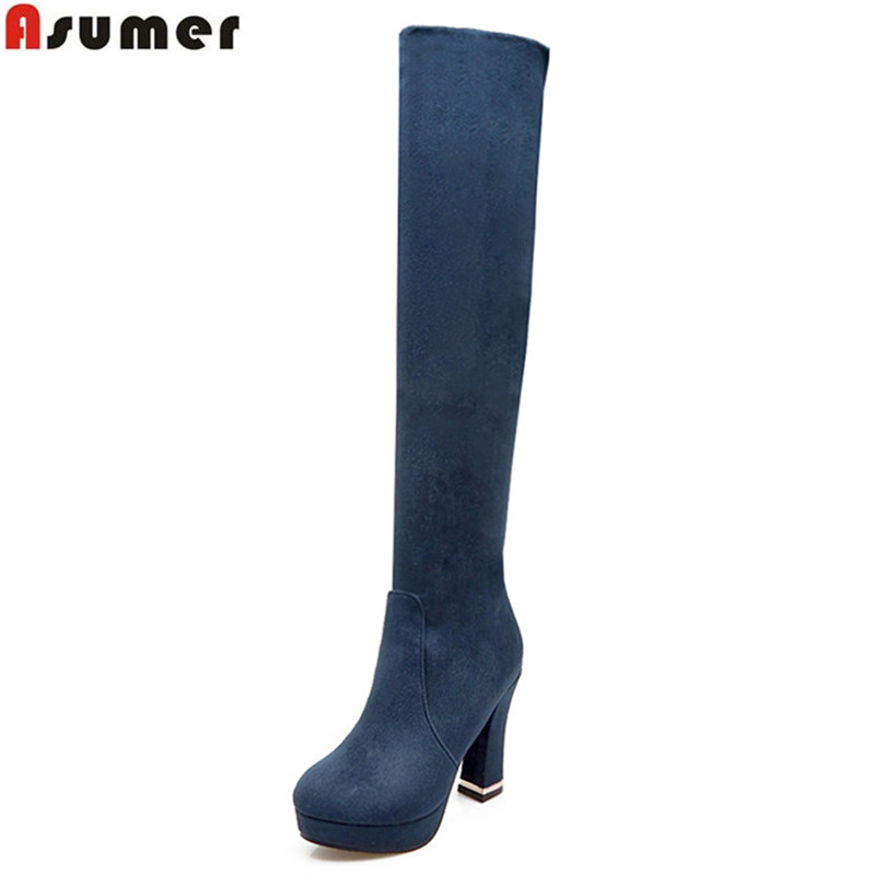 Asumer new arrive flock women boots black wine red blue Dark brown over the knee boots
