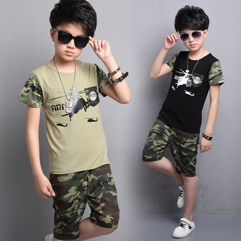 Catamite Camouflage Suit Summer New Pattern Army Green Aircraft Handsome Pocket Labeling Pants 2 Pieces Kids Clothing Sets summer child suit new pattern girl korean salopettes twinset child fashion suit 2 pieces kids clothing sets suits