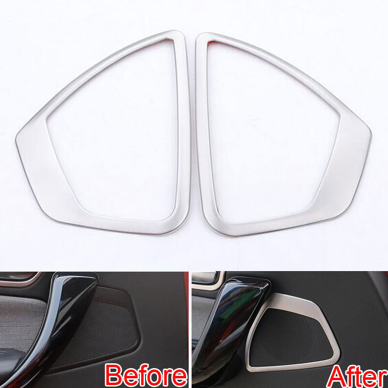 BBQ@FUKA 2x Stainless Car Front Door Speaker Sound Frame Trim Ring Covers Sticker Fit For <font><b>BMW</b></font> 1 Series F20 <font><b>116i</b></font> 118i 2013-2014 image