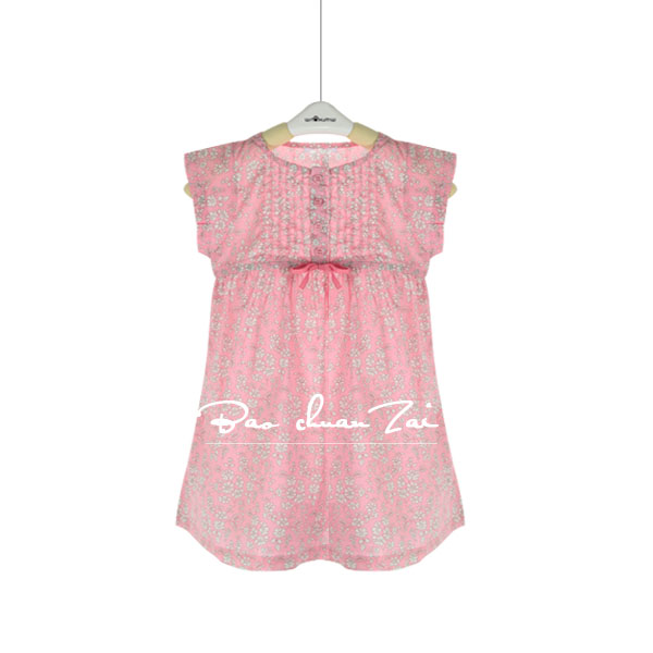 French girls dress imported cotton thin opaque Blue Pink Floral DressFrench girls dress imported cotton thin opaque Blue Pink Floral Dress