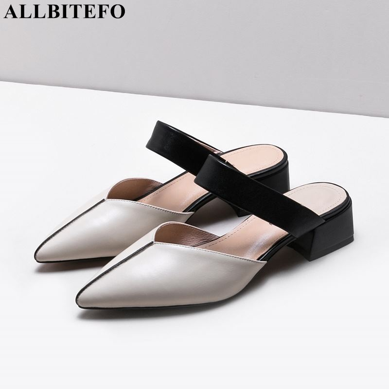 ALLBITEFO large size 33 42 full genuine leather high heels women shoes summer party women sandals
