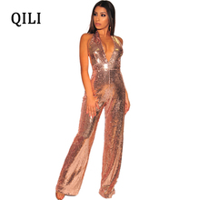 QILI Women Halter Sequin Jumpsuits Sexy V neck Sleeveless High Waist Wide Leg Jumpsuit Romper Backless Elegant Fashion