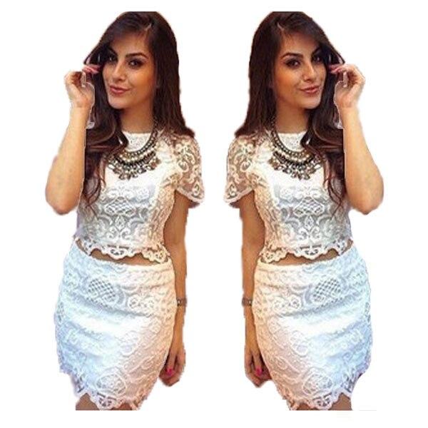 Summer Style 2015 White Floral Lace Dress Women Two Piece Dress Suit