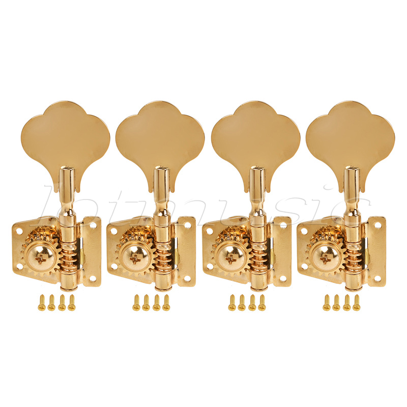 4 String Bass Guitar Tuners Tuning Pegs Keys Machine Heads Open Back Gear 4L Inline Gold