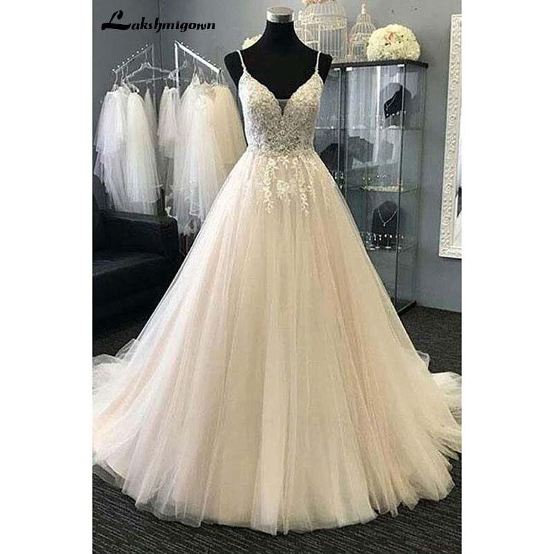 Sexy бретельках Пляжные Свадебные платья 2018 аппликации тюль line длинное платье невесты Robe de mariie