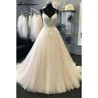 Sexy V neck Beach Wedding Dresses Appliques Tulle A Line Long Bride Dress Robe de mariie