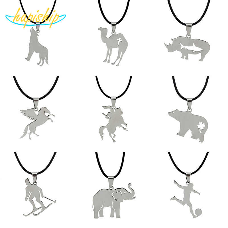 "Hapiship 2018 New Women/Men's Jewelry Stainless Steel Little Cute Wolf rhino Horse Pendant Short 17"" Necklace For Lady Men SS10"