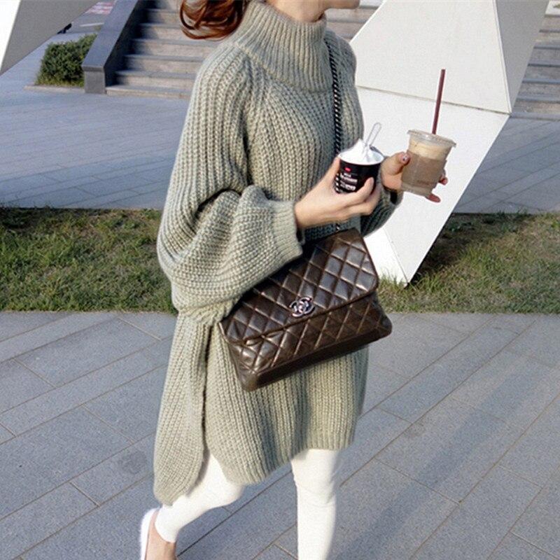 Automne hiver épais Long pull femmes lanterne manches côté fente demi col roulé pulls surdimensionné pull hiver femme