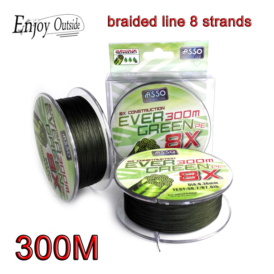 300M Super strong green multifilament fishing line Braided Fishing Line 8 strands linha multifilamento 8 fio mian line peche